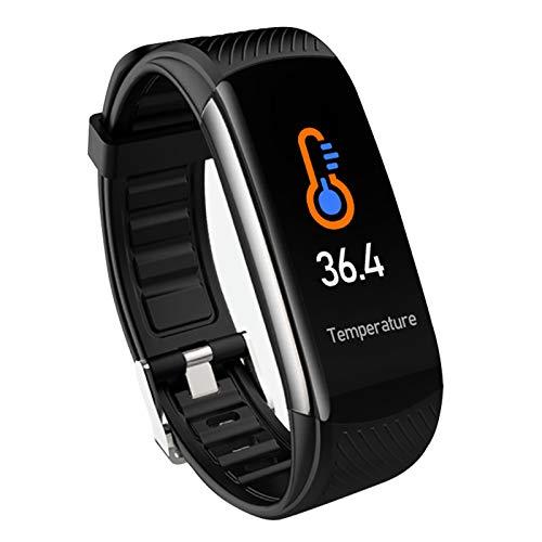 FMSBSC Reloj Inteligente Hombre Smartwatch - Medidor de Temperatura Corporal, Pulsómetros, Monitor de SpO2, Monitor de Sueño, Presión Arterial, Pulsera Actividad Inteligente para Android iOS,Negro