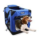 JESPET Soft Dog Crates Kennel for Pets, 3 Door Soft Sided Folding...