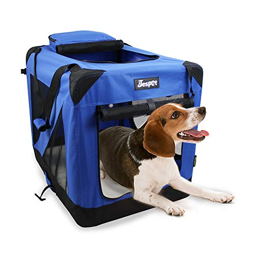 JESPET Soft Dog Crates Kennel for Pets, 3 Door Soft Sided Folding Travel Pet Carrier with Straps and Fleece Mat for Dogs, Cats, Rabbits, Grey Blue & Beige (36 L x 24 W x 27 H, Blue)