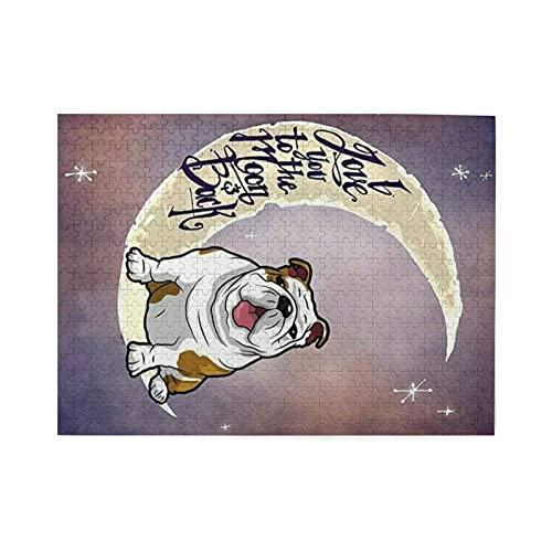 English Bulldog 500 Piece Jigsaw Puzzle for Adults and Kids, Wooden Puzzle, Artwork, Fun Game, Early Education, Gift for Kids.