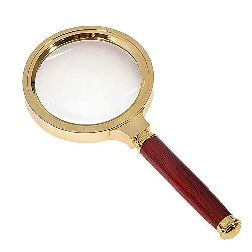 HIGHKAS Holzgriff Lupe, Echtglas Präzisionslinse Makuladegeneration Lesehilfe Puzzle und Lupe Hobby für einige Vision oder jemanden, Metallic