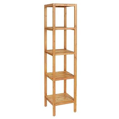 HOMFA Bamboo Bathroom Shelf 5-Tier Tower Free Standing Rack Multifunctional Storage Organizer
