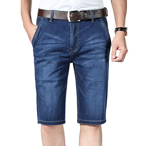 Pantalones Cortos de Mezclilla con Corte de Bota y Ajuste Relajado para Hombre, Azul Claro, súper cómodos, elásticos, Rectos, con múltiples Bolsillos, Jeans Salvajes 36