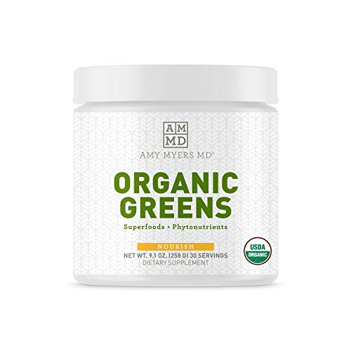 Organic Greens Powder Superfood Juice from The Myers Way Protocol - Contains 14 Powerful USDA Certified Organic Plant Foods - Spirulina, Chlorella, Barley + more, 270 Grams 30 Servings - Dr. Amy Myers