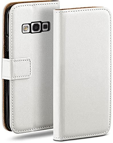 moex Klapphülle kompatibel mit Samsung Galaxy S3 / S3 Neo Hülle klappbar, Handyhülle mit Kartenfach, 360 Grad Flip Hülle, Vegan Leder Handytasche, Weiß