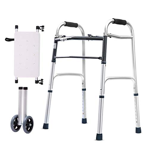 AILSAYA Walking Aid Rietstoel Oudere Armsteun Lichtgewicht Aluminium Rollator met Gecapitonneerde Seat Vierbenige Oudere Walker Pulley Oudere Walker Telescopische Folding Walker Crutches Aids gehandicapt