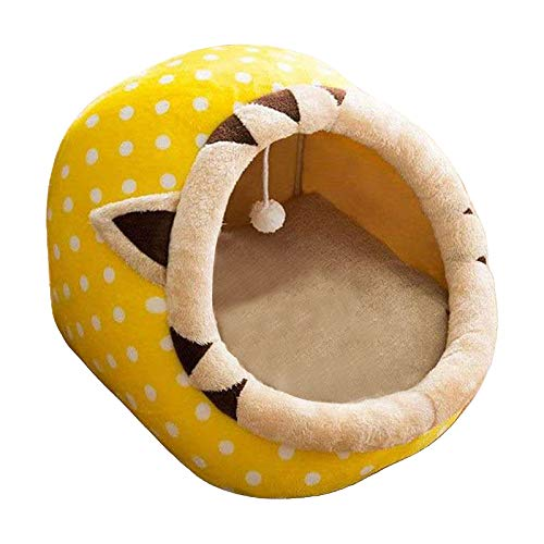 perfk Mascota cálida casa Cachorro canil Mat para Perros Animales Gato Gatito Nido Teddy Chihuahua Cueva Cama de Perro - Amarillo-M