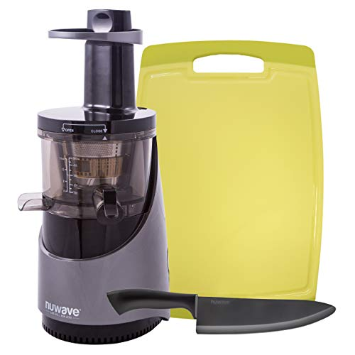 """NUWAVE NUTRI-MASTER Slow Juicer with BPA-Free 16oz Tritan Juicing Bowl, 2 Strainers, Specially Designed High-Yield Auger, Sloped Food Plate, Wide Chute, and Quiet 240-Watt Motor with 6.5"""" Black Ceramic Chef's Knife and Cutting Board"""