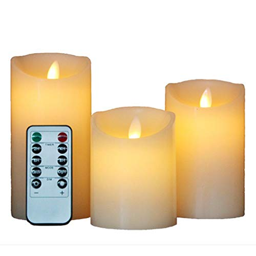 Easter Led Candles, Flameless Candles, Real Wax Candle, Pillar Candle(8cm x H 10.2 cm / 12.7 cm / 15.2 cm), Remote Control with 10 Buttons for Home