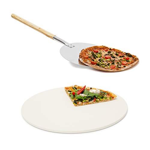 Relaxdays 2 teiliges Pizza-Set, runder Pizzastein aus Cordierit, für Backofen und Grill, Pizzaschaufel Pizzaschieber mit langem Griff