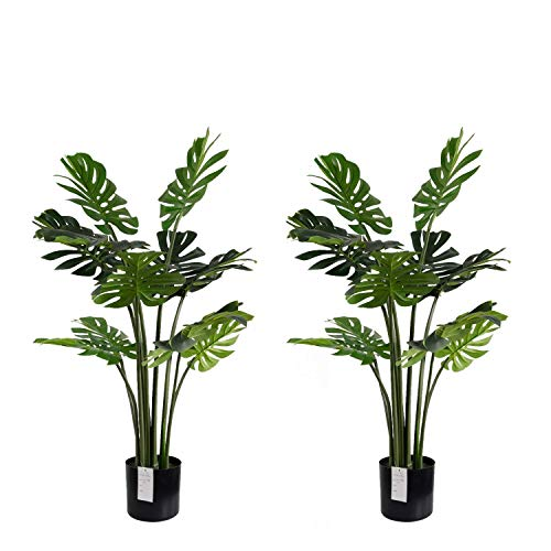 momoplant Artificial Monstera Deliciosa Plant - 47 Inch/4 Feet Faux Tropical Tree for Home Garden Office Store Decoration
