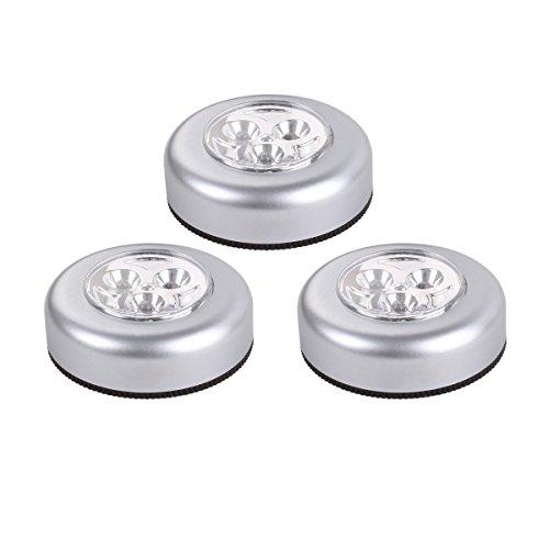 Dizaul LED Tap Luce Battery Operated, Incollare , argento, confezione da 3