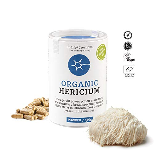 100% Organic Lions Mane Mushroom | Hericium Erinaceus | 180 caps x 500mg | Grown 100% in EU | Vegan + GF | Eco Packaging | No 'Non - EU Agriculture' - New