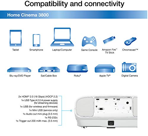 Epson Home Cinema 3800 4K Projector specifications