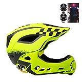2-en-1 de la cara llena del casco con luz de la cola, niños de los niños de la bici seguridad de los deportes casco ajustable de MTB BMX Dirtbike, monopatín Casco con desmontable MENTONERA,Amarillo,M