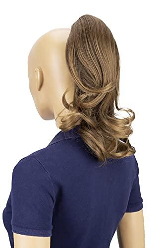 PRETTYSHOP 30cm Postiche Natte Queue De Cheval Extensions De Cheveux Volumineux Ondulé Mélange Brun H129