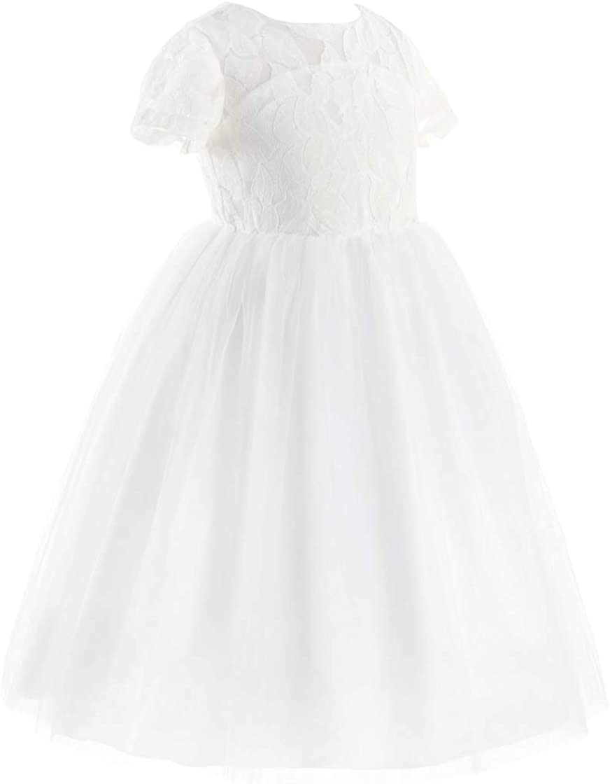 iiniim Kids Girls Heart Shape Back Princess Pageant Wedding Party Flower Girl Dress