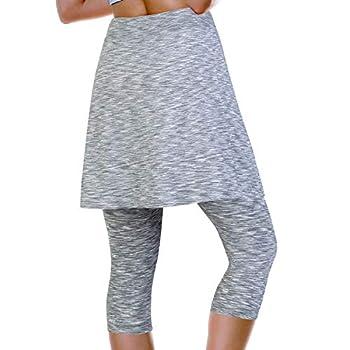 ANIVIVO Skirted Leggings for Women Athletic Tennis Skirt Knee Length with Leggings Active Yoga Skirt Pockets Gray L