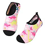 JIASUQI Girls and Boys Kids Aqua Water Shoes Beach Sandals for Pool,Pink Dinosaur US 9.5-10 M Toddler