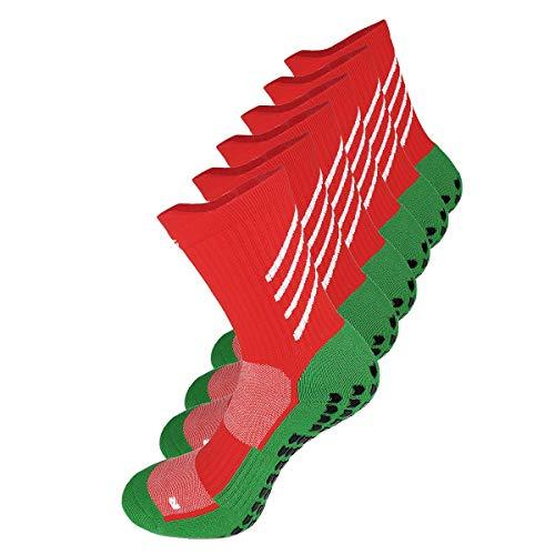 Gogogoal Rutschfeste sport Socken herren damen anti-rutsch Athleticsocke Pantoffelsocken mit Griff für fußball Basketball Yoga Wandern Trekking Laufen Radfahren (Rot, L)
