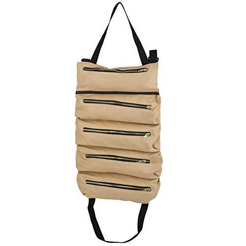 VGEBY Sac de Rangement pour Outils Sac à Rouler en Toile Portable Sac à Outils Polyvalent Sac à roulettes pour fourre-Tout(Kaki)