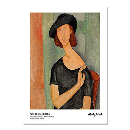 ZWXDMY Leinwand Bild,Amedeo Modigliani Face-Lifting Frau Porträt Kunst Farbe Wand Dekorative Dekoration Drucken Leinwand, Kunst Wandbild Poster Bild, 70 X 100 cm