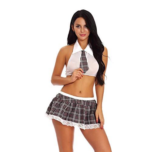 Camisón Mujer Sexy Conjuntos Babydoll Mujer Sexy Lencería Lencería Disfraz Erótico Juego De Roles para Estudiantes Conjuntos De Uniforme Camisa Corta Blanca Falda De Queso Gris Colegiala Sex