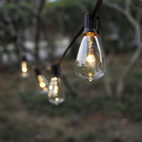 MYHH-LITES - Cadena de Luces solares para Exteriores con 10 Bombillas LED ST38 clásicas, jardín, Patio, pergola, Fiesta, café, bistró, Boda, decoración de Camping