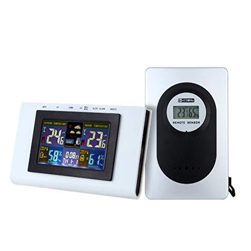 Digitale Funkwetterstation mit Außensensor, Profi-Funkwetterstation, Wireless Digital-Thermometer-Hygrometer mit LCD, Uhr, Thermometer und Hygrometer