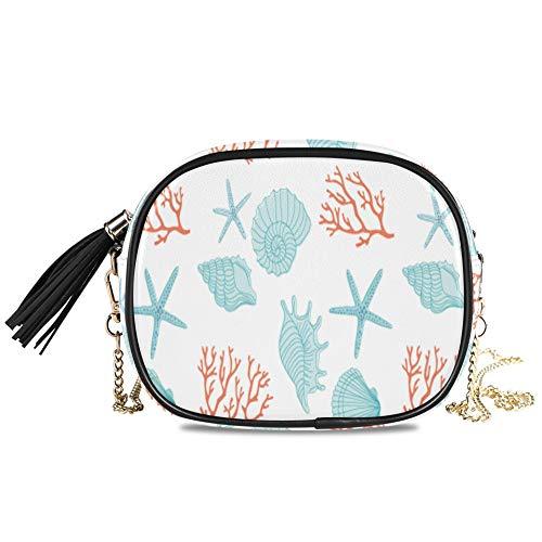 WYYWCY Colorido Coral Seashell Bolso de noche para mujer para mujer Fiesta formal Bolso para mujer Bolsos cruzados para niñas adolescentes Decoración para niñas Bolso de hombro 7.48x5.9x3.54 pulgadas
