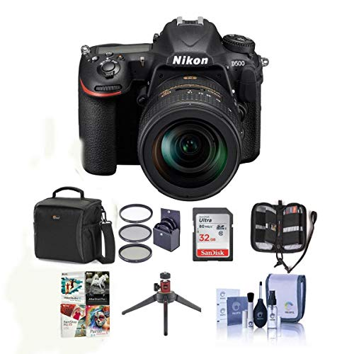 Nikon D500 DX-Format DSLR Body with AF-S DX Nikkor 16-80mm f/2.8-4E ED VR Lens - Bundle with 32GB SDHC Card, Holster Bag, 72mm Filter Kit, Table Top Tripod, Memory Wallet, Cleaning Kit, Software Pack