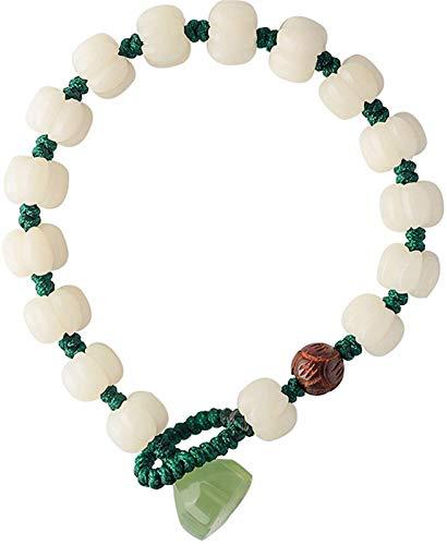 Feng shui riqueza jade pulsera para las mujeres de jade blanco Bodhi tallado con cuentas de calabaza Jade Lotus Rosewood Lotus Bead Pulsera tejida mano tallada Mantra Bead Talisman Atraer dinero Buena