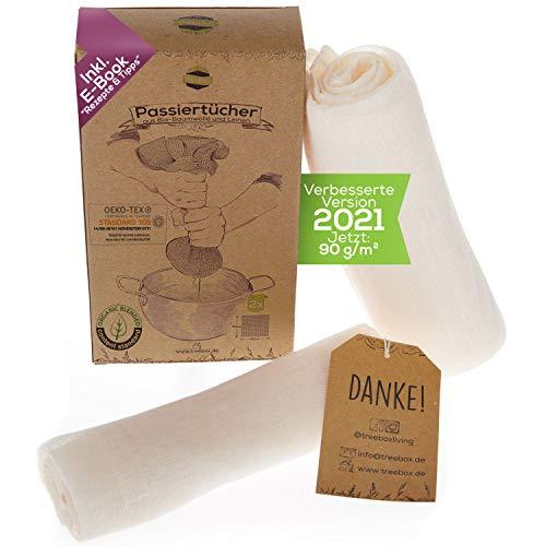 TreeBox Reißfeste Passiertücher aus Bio-Baumwolle und Leinen - 2er Set - Besonders fein - Wiederverwendbar und waschbar – Perfekt für Saft und Suppe