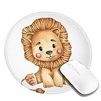 水彩のかわいいライオンデザインパターンラウンドマウスパッドデスクパッド滑り止めラバーマウスパッドステッチエッジオフィスや家庭用のかわいいラウンドマウスパッド