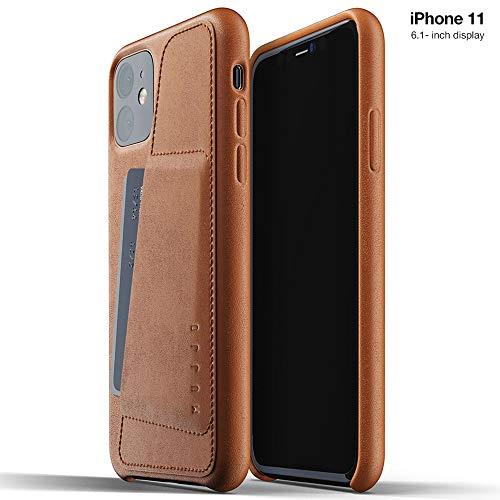 Mujjo - Funda de Piel Tipo Cartera para Apple iPhone 11, 2 – 3 – 3 – Funda de Piel Suave, Efecto Natural envejecimiento, Color marrón
