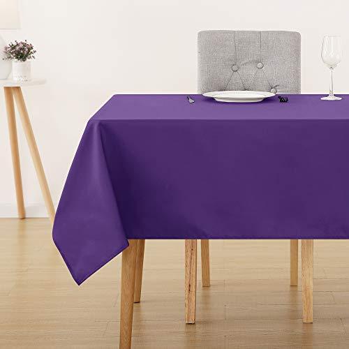 Deconovo Tischdecke Wasserabweisend Tischwäsche Lotuseffekt Tischtuch 150x150 cm Lila