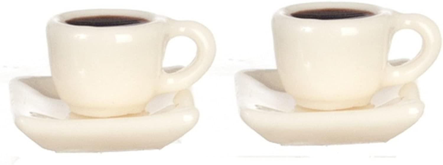 Melody Jane Dollhouse Miniature Accessory Set of 2 Breakfast Cup Saucer with Black Coffee