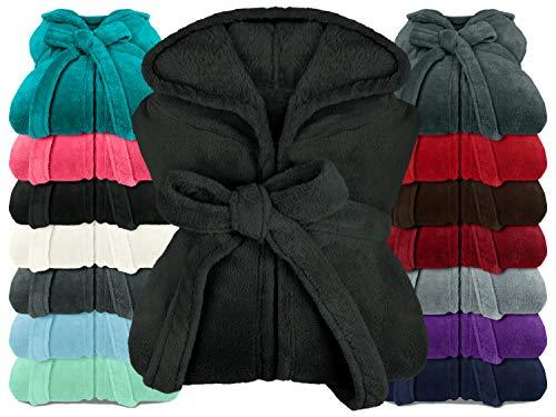 npluseins extra weicher Kapuzen-Bademantel aus Kuschelfleece - in modernen Farben und verschiedenen Größen - Unisex & wadenlang, XXL, schwarz