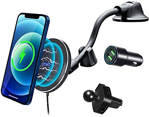 Magnetic Wireless Car Charger for iPhone 13/13 Pro Max/13 Pro/13 Mini/12/12 Pro Max/12 Pro/12 Mini/MagSafe Case,OTAO Air Vent Clip [with QC3.0 Adapter] Windshield Dashboard Car Mount Phone Holder