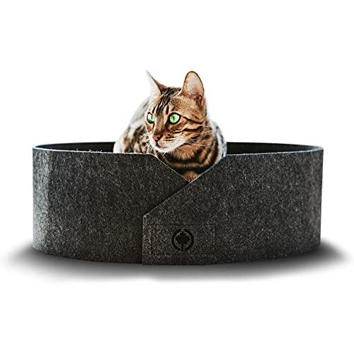 CanadianCat Company ® | Owen XL 50cm | Filzbett mit Kratzboden für Katzen Anthrazit - Katzenbett mit Wellpappe als Boden