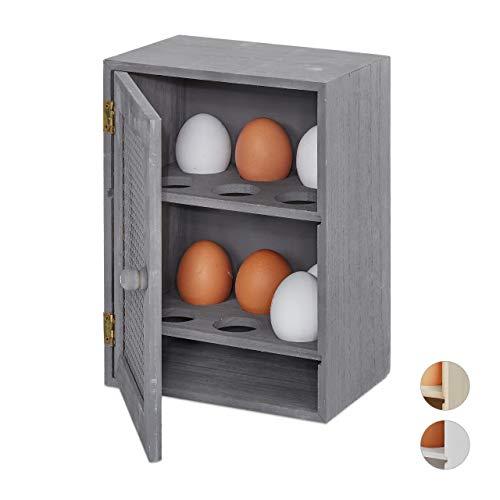 Relaxdays Huevera Rústica, Armario 12 Huevos