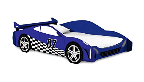 Blue and White Race Car Standard Bed Frame for Kids, Twin Size