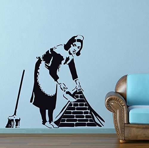 DIY Vinilo Adhesivo de pared Creativo Banksy Style mucama barrer el piso hogar y decoración de la calle plantillas de vinilo con graffiti Art Decal Poster 84 * 90cm