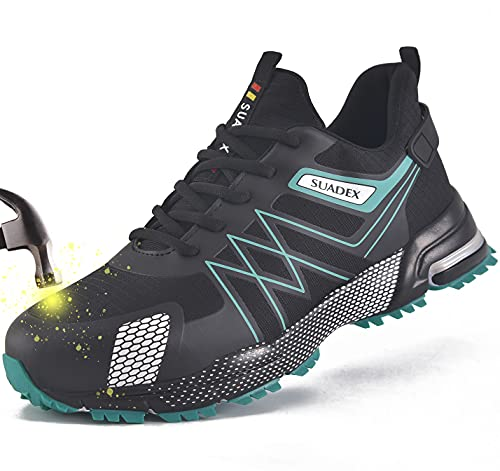 SUADEEX Zapatos de Seguridad Hombre Mujer Ligero Zapatos Seguridad Zapatillas de Seguridad Hombre Trabajo Zapatos de Trabajo Antideslizante Transpirables Industriales,Verde,42EU