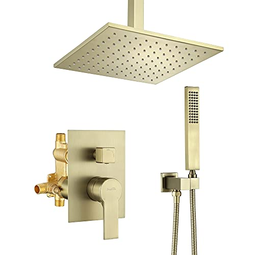 Brass Ceiling Mount Shower System, SHAMANDA Bathroom Rainfall Shower Faucet Combo Set with 10-Inch Fixed Shower Head and Hand Shower, Brushed Gold (Including Rough-In Valve Body and Trim), LCM702-3