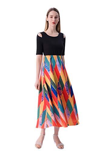 Shroizan Womens Plaid Short Sleeve Dress Empire Waist Printed Strapless Swing Casual Maxi Dress with Pockets (Medium,Colorful)