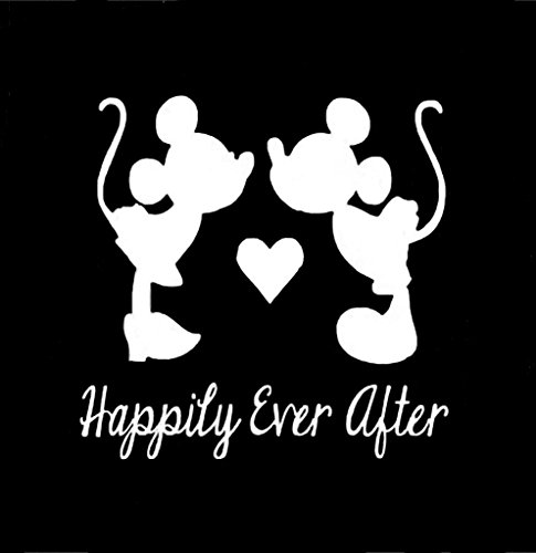 CCI Happily Ever After Mickey and Minnie Mouse Disney Decal Vinyl Sticker|Cars Trucks Vans Walls Laptop| White |5.5 x 5.5 in|CCI1353