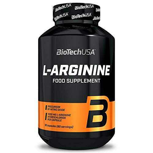 BIOTECH USA L-ARGININE 90 Capsules | 1,650mg Per Serving | Muscle Pumps & Muscle Growth | Food Supplement | NO Booster