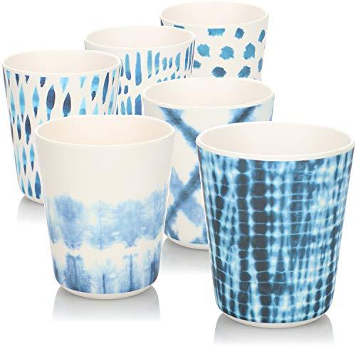 COM-FOUR® 6x Vasos de melamina para beber - vasos de plástico de melamina - vasos multifuncionales con diferentes patrones de presión - [la selección varía] (6 piezas - blanco con dibujo azul)
