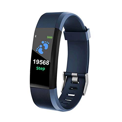 YDL SmartWatch para Hombres Mujeres 115 Plus Smart Muñequera Fitness Tracker Presión Sport Watch Monitor De Ritmo Cardíaco Banda A2 Smart Watch (Color : Blue)